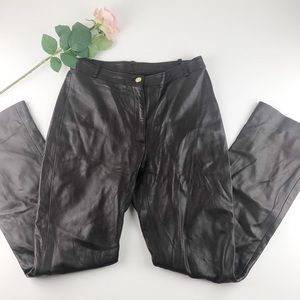 St. John Couture Vintage High Rise Leather Pants